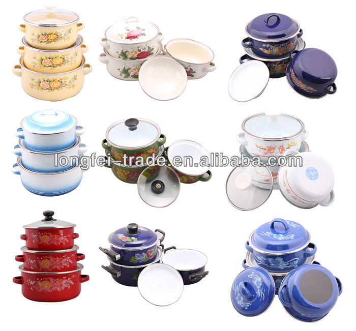 Bright colored enamel casserole Set Parini Cookware With Glass Lid