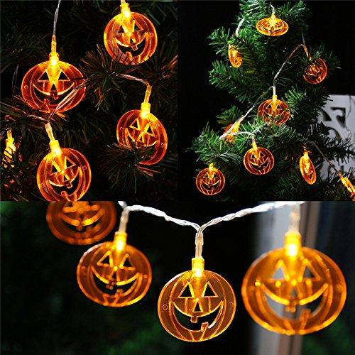 Battery Powered 10 LED Flat Jack-O-Lantern Pumpkin String Lights for Halloween Party