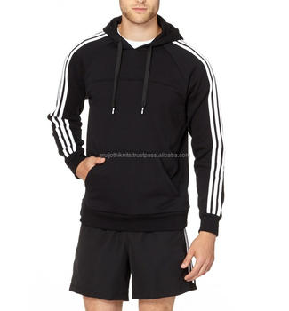 Men's Plain Black Pullover Hoodies With Sports Striped Sleeves ...