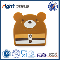 Cheap personalized funny bear silicone chinese silk coin purse