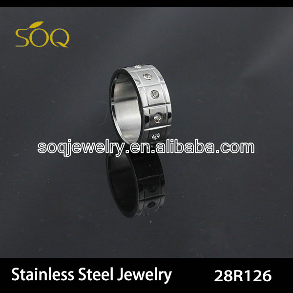 fashionable silver & diamond stainless steel ring