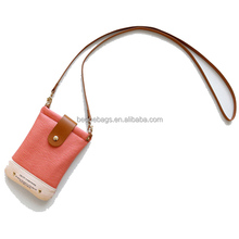 Korean style cute leather mobile phone pouch with neck strap