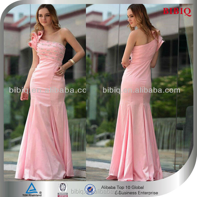 New Woman One shoulder Ruffled Beaded Technics Bodycon Mermaid Luxurious Wedding Gowns