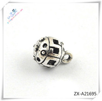 hollow silver plated big hole alloy beads for bracelet .beads for jewelry making, ZX-A21695