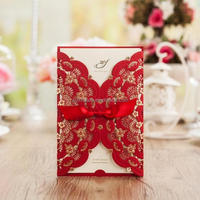 Indian laser cut red wedding invitation card wholesale supplies cw5113