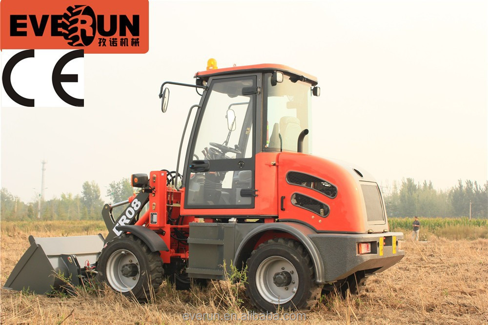 EVERUN ER08 mini Wheel Loader for sale with CE and Chinese hydrostatic system