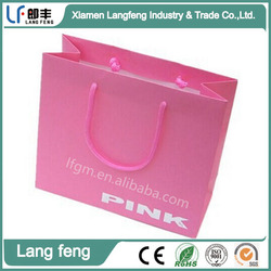 White Cardboard Material Pink Color Paper Shopping Bag for Clothing