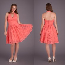 BD53 Custom made Halter Knee Length Wedding Guest Dresses Short Lace Peach Color Bridesmaid Dress