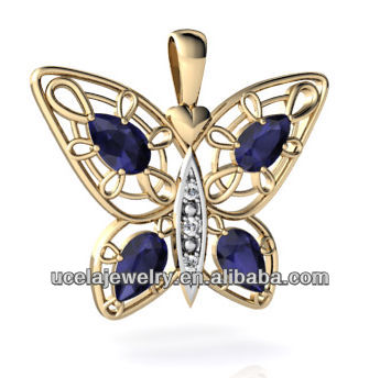 Asian jewellery 14k Yellow Gold Genuine Sapphire Butterfly Pendant