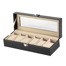 Black Pu Leather Glass Top 6 Slot Suede Lining Packaging Storage Display Case Jewelry Wrist Watch Box