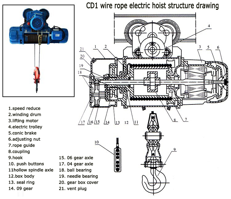 cd15 ton electric chain hoist wire rope block