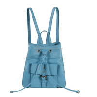 BK4067 New Arrival Blue PU Leather Drawstring Traveling Backpack For Girl