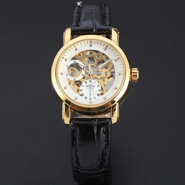 Winner branded gold case leather automatic mechanical watches women