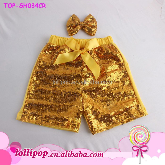 Bling Sparking Kids Sequin Gold Shorts Birthday Outfit Boutique Toddler Baby Girls Sequin Shorts With Matching Bow