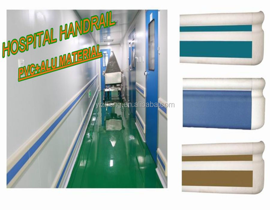 Hospital anticollision PVC and aluminum handrail