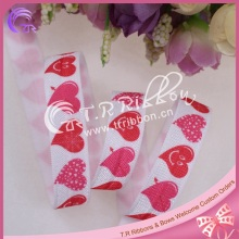 Newest 5/8 inch hearts printed FOE elastic for Valentine, fold over elastic for hair tie