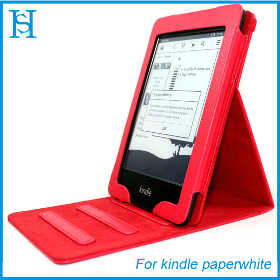 PU stand leather case for kindle paperwhite