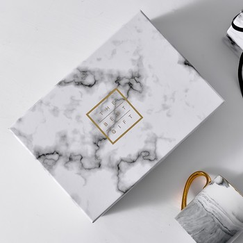 2018 custom white marble printed paper cardboard favor gift box packaging  for wedding invitation with gold foil logo wholesale
