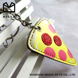 3D custom embossed logo genuine handmade leather/pu keychain