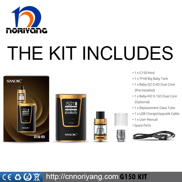 2017 Original SMOK G150 Kit 150w Ecigarette Mod with TFV8 BIG BABY Tank
