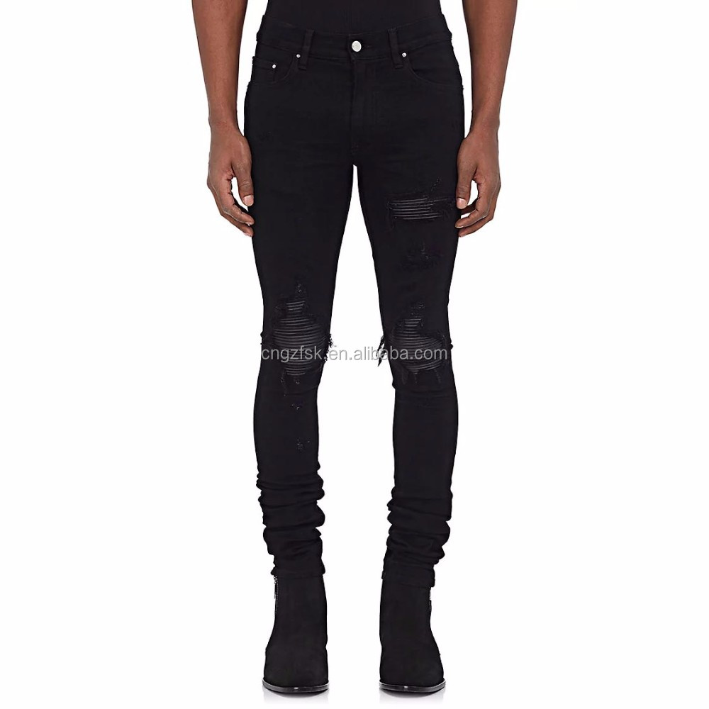 2017 Hot sale amiri pattern jeans men leather-inset skinny fit ripped repaired jeans with jet black stretch denim jeans