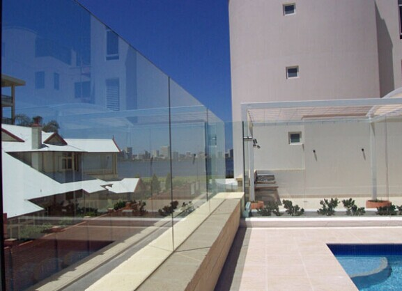 into flooring ss304 / 316 frameless glass u-channel outdoor banisters and railings