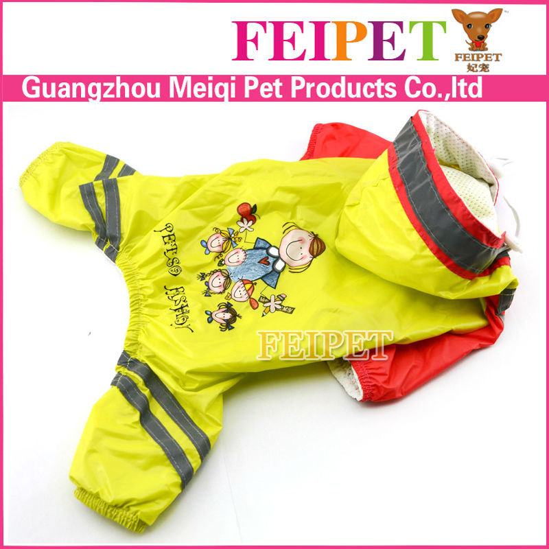 Fashion pet rainy days slicker yellow small dog raincoats