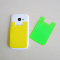 Wholesale silicone rubber making silicone mobile phone card holder,mobile phone silicone case card holder pouch