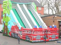 Fire engine inflatable double lane slide