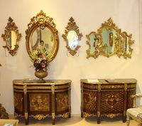 special design luxury decorative living room/bedroom antique hand drawing chest and mirror set