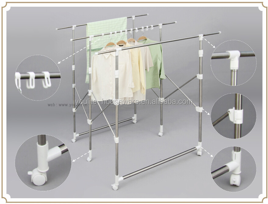 Multi-bar collapsible folding clothes tree