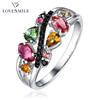 2017 new design hot selling fashion jewelry tourmaline diamond 925 sterling silver ring
