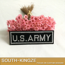 Long article chest woven style black base white word US ARMY embroidery patch