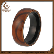 Best selling wood ring jewelry black titanium engagement ring with koa wood inlay