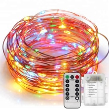 String Lights LED Copper Wire Fairy Christmas Light with Remote Control, 33ft/10M 100LEDs, AA Battery Powered, Decor Rope Lights