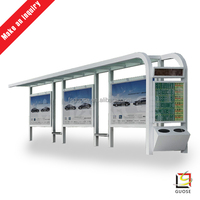 factory price new design bus shelter with litter bin
