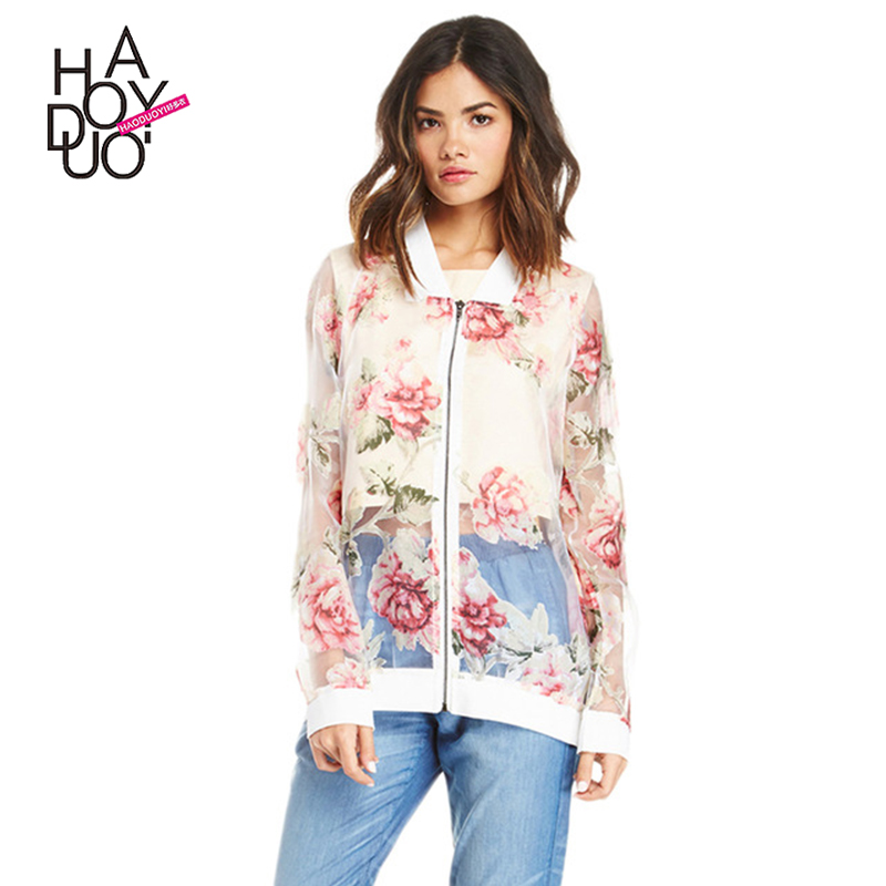 Haoduoyi Summer Fashion Women Coat Casual Floral Print Transparent Shirt Jacket Zipper Contrast Chiffon Coat for Wholesale
