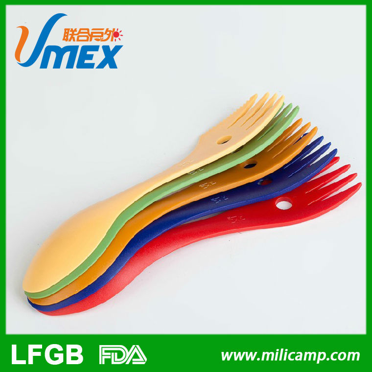 NEW function outdoor PP spork with carabiner, plastic spoon and spork for outside cooking, plastic knife for bread cutting