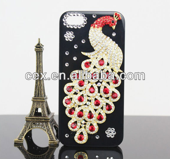 Bling 3D PC Plastic Peacock Ocean Crystal Diamond Rhinestone Hard Case For Apple iPhone 5 5G 5S