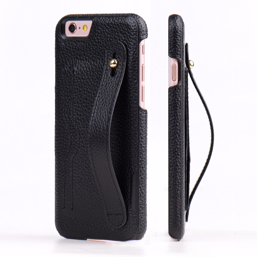 Black Genuine Leather Cell Phone Back Cover Case for iPhone 6S