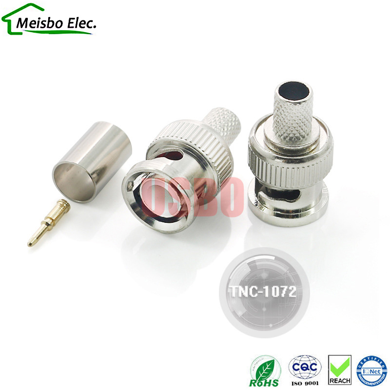Communication RF signal conversion male and female socket full copper HD TNC crimp-type connector