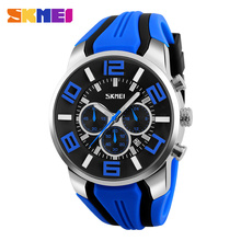 Skmei casual men 3atm waterproof stopwatch high quality silicone band quartz watch #9128