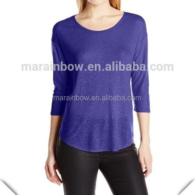 China manufacturer women's burnout workout Scoop neckline tee plain design custom with half sleeve wholesale