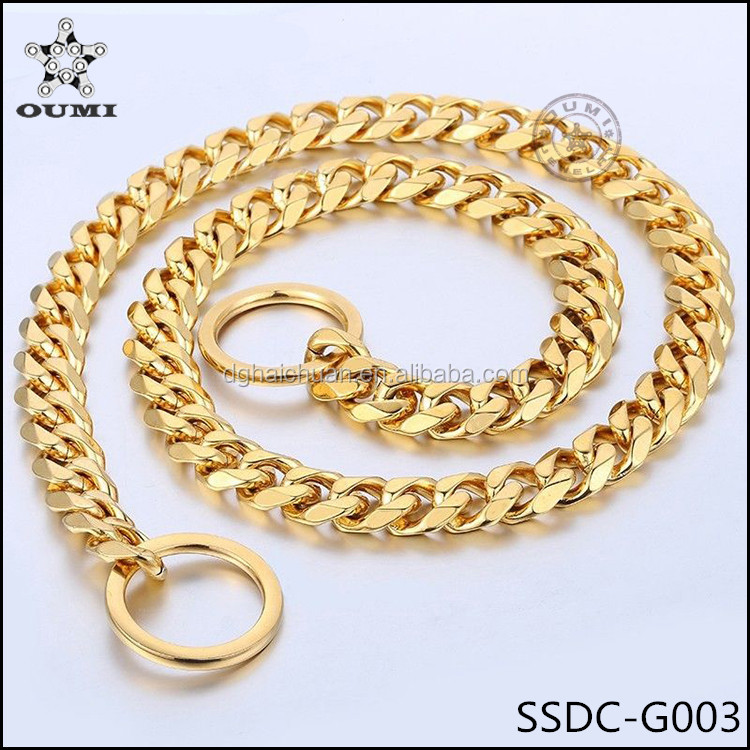 Wholesale custom 10.5mm metal chain dog collar stainless steel gold chain dog collars
