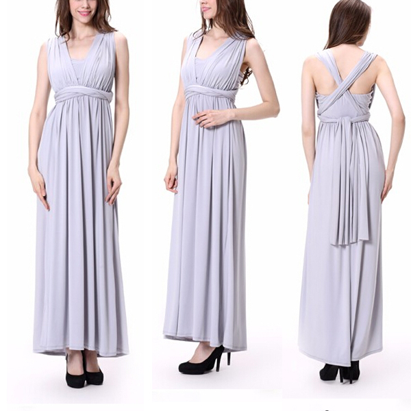 Newest Style One Shoulder Strapless Changeable Long Bridesmaids Party Maxi Dress For Young Ladies