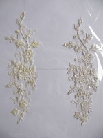 Beaded Chantilly Nylon French Border Lace/high quality fashion polyester metallic embroidery flower applique in patch