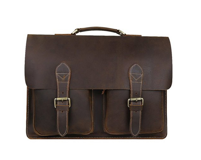 wholesale laptop pad messenger bag crazy horse leather crossbody bag for boy men