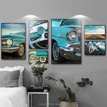 3D HD Modern Sport Speed Oil Painting Blue Vintage Car Decoration Painting Without Frame Canvas Painting