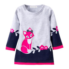 Wholesale Spring Autumn Kids Cartoon Fox Long Sleeve <strong>Dress</strong> Printed Kids Girls Lace <strong>Dresses</strong> <strong>Girl's</strong> Wear Kids Suit Cheap Price