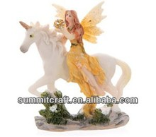 Polyresin flower fairy and unicorn figurines